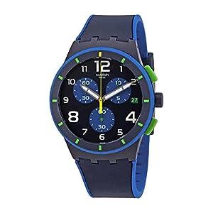 Swatch Beach Swing Bleu Sur Bleu Blue Dial Silicone Strap Men's Watch SUSN409