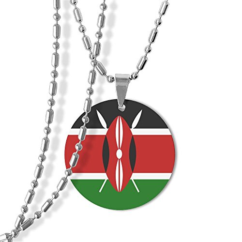 Flag Of Kenya Unisex Jewelry Round Pendant Necklace Metal Dog Tag For Men Women Love Gifts (New Metal Kenya)