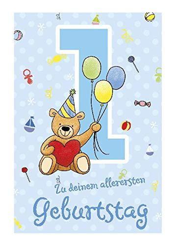 Depesche 5698.001 Glü ckwunschkarte mit Musik, 1. Geburtstag, blau, Mehrfarbig