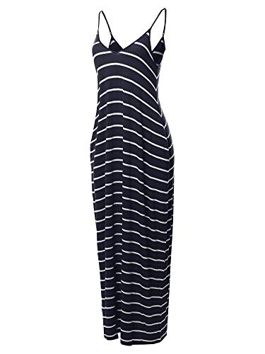 (Made by Emma Casual Adjustable Strap Side Pockets Stripe Loose Maxi Dress Navy S)