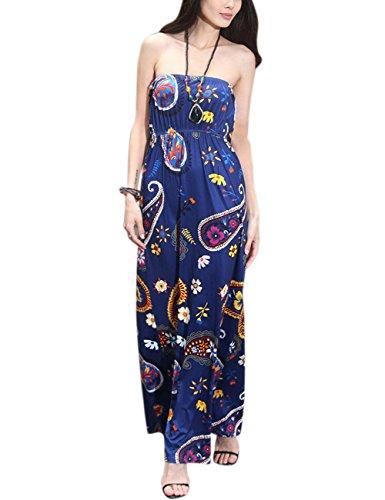 AMZ PLUS Women Floral Plus Size Off The Shoulder Tube Top Maxi Strapless Dress Blue (Knit Tube Dress)