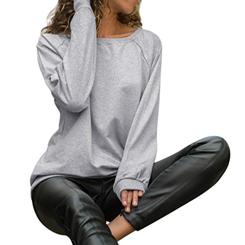 Sunhusing Women's Round Neck Long Sleeve Solid Color T-Shirt Casual Pullover Top