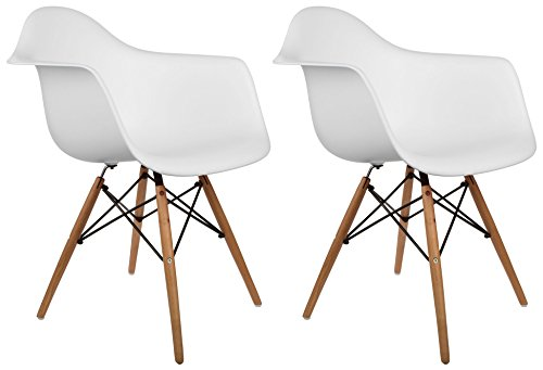 Poly and Bark Vortex Arm Chair, White, Set of 2 by Poly and Bark