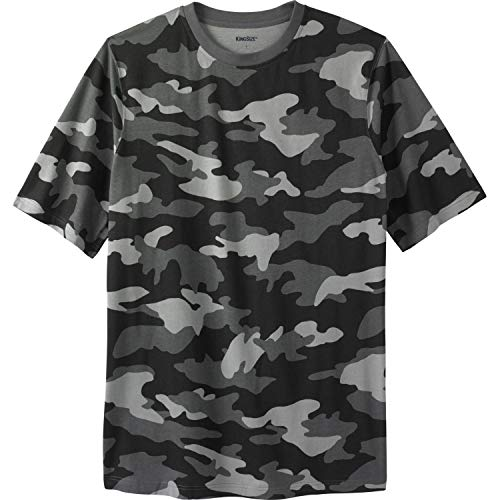 KingSize Men's Big & Tall Lightweight Crewneck T-Shirt, Steel Camo - Crewneck Steel