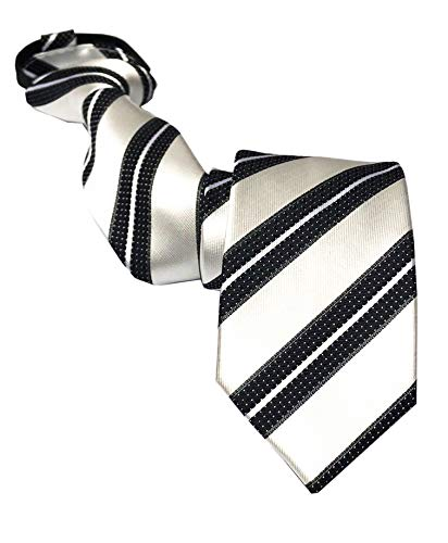 Men's Classic Silver White Black Silk Zipper Ties Modern Stripe Neckties Best Gift for Boyfriend (The White Stripes A Boys Best Friend)