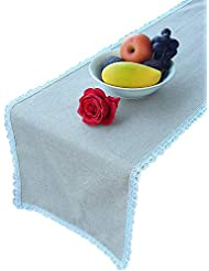 Handmade Table Runner 14 x 72 Inches - Modern Linen Polyester Tablecloth for Any 4, 6 or 8 Seated Dining Table - Hand Stitched Gray Tabletop Decoration and Protection with White Lace - My Trendy Kitch