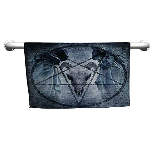flybeek Personalized Hand Towels Horror House Decor,Artwork with Pentagram Icon Goat Skull Devil Dream Hoody Figure Exorcist Image,Blue,Hooded Towel for Toddler Girl