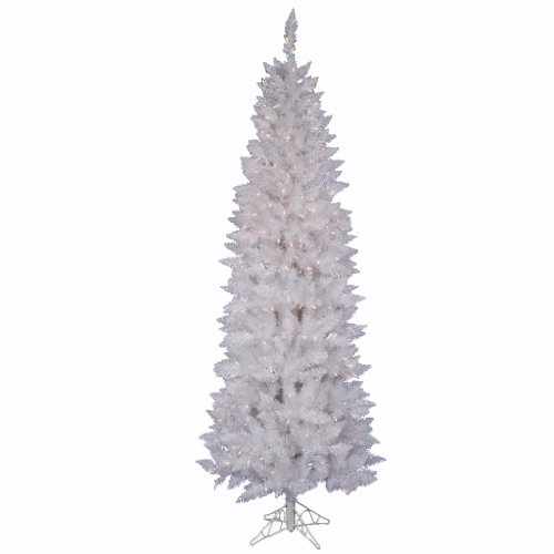 Vickerman Pre-Lit Spruce Pencil Tree with 150 Frosted Multicolored LED Lights, 5-Feet, Sparkle White