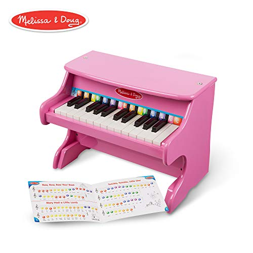 Pink Baby Grand Piano - Melissa & Doug Learn-to-Play Pink Piano With 25 Keys and Color-Coded Songbook
