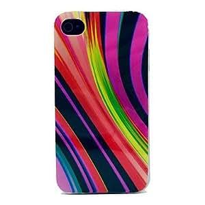 TY- Caja colorida Soft Stripe Patterm TPU para iPhone 4/4S