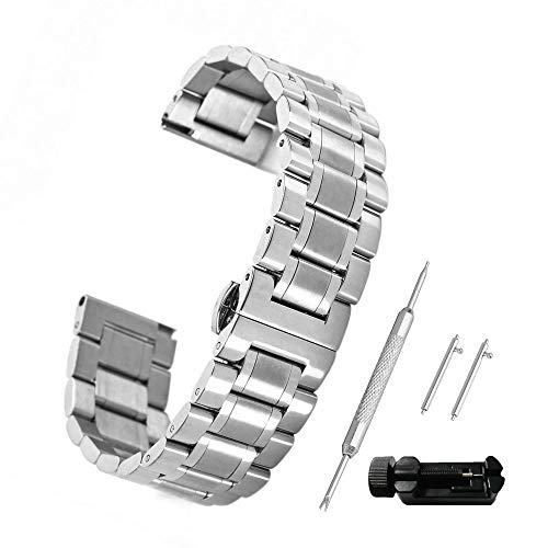 Bewish Stainless Steel Bracelet Watch Band Strap Butterfly Buckle Clasp Five Beads Solid Silver Tool (17mm) (17mm Watch Band)