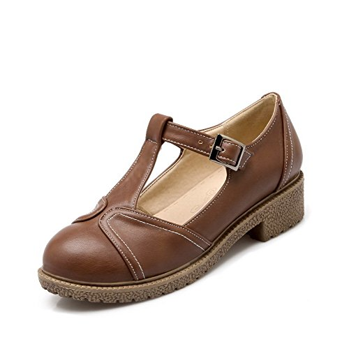 AllhqFashion Womens Buckle PU Round Closed Toe Low-Heels Solid Pumps-Shoes Brown