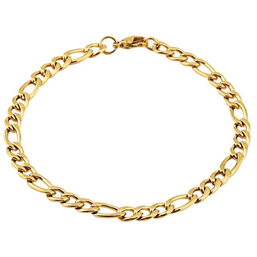 - HZMAN Men Women 18k Real Gold Plated Figaro Chain 5mm Stainless Steel Bracelet 8.5 Inches