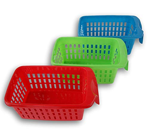 (Stackable Storage Baskets for Kitchen, Pantry, Cabinets with Single-End Handles - Red, Blue, and Green)