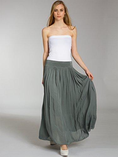 Caspar, RO012- Maxi falda para mujer verde oliva