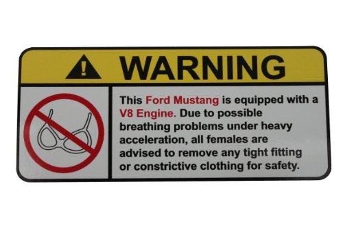 Ford Bra Mustang (Ford Mustang V8 No Bra, Warning decal, sticker)