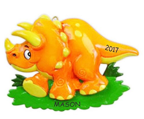 Personalized Dinosaur Christmas Ornament (Triceratops) by DIBSIES Personalization Station