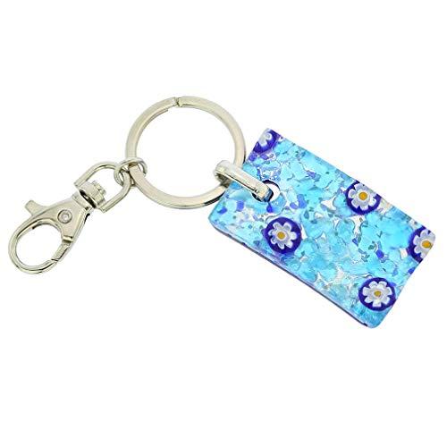 GlassOfVenice Murano Glass Colors Rectangular Keychain - Aqua Blue
