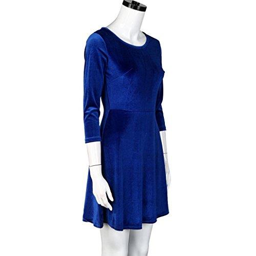 Vestidos para mujer, Vovotrade Mujeres de tres cuartos de manga vestido de terciopelo Azul
