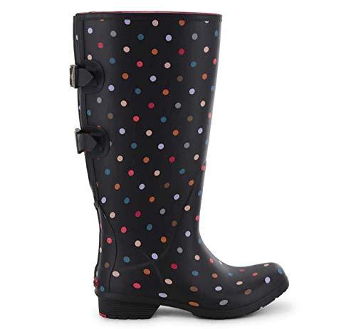 Chooka Women's Wide Calf Memory Foam Rain Boot, Multi dot, 10 M US