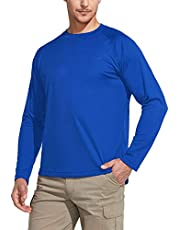 CQR Men's UPF 50+ Sun Protection Long Sleeve Performance SPF Hiking T-Shirt(Hoodie/Round Neck 2Type)