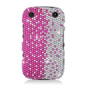 Eagle Cell PDBB9310S322 RingBling Brilliant Diamond Case for BlackBerry Curve 9310 - Retail Packaging - Hot Pink/Silver Divide ()