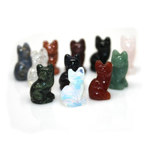 Hand Carved Miniature (Miniature Hand Carved Gemstone Sitting Cat Mixed Ten Pack)