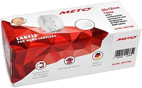 METO etiketten voor etiketteerapparaten 9517184 26x12 mm 1regelig 6000 stuks multifunctioneel permanent en diepvries voor Meto Contact Sato Avery Tovel Samark etc 6 rollen wit
