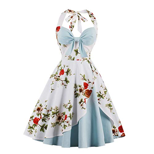 Women Retro Dress Rockabilly Halter Bowknot Sleeveless Hepburn Pleated Floral Swing Cocktail Vintage Dresses Chaofanjiancai Light Blue