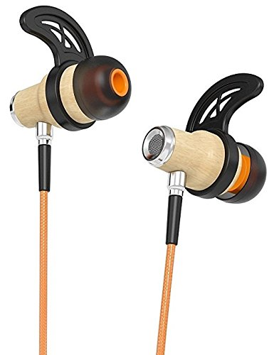 Symphonized NRG 2.0 Bluetooth Wireless Wood in-Ear Noise-isolating Headphones, Earbuds, Earphones with Mic & Volume Control (Orange)