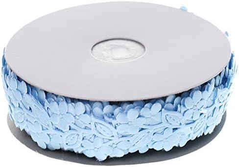 飾りテープ 花柄 レース リボン 花のつる 衣類 コスチューム ドレス 装飾 トリム 全3色 - 青