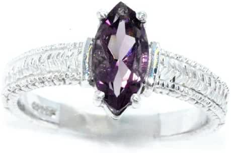 Created Alexandrite Marquise Ring .925 Sterling Silver Rhodium Finish