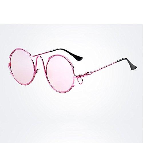 Lentes Sol de Steampunk LVZAIXI Protección Gafas Sunglasses Retro Espejo Cosplay Color Pink Goggles Vintage UV400 Lente Blanco Cyber Redondas qHwZctpw