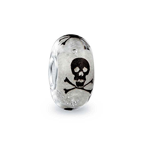Glow in the Dark Black and white Skull and Crossbones Murano glass Charm Bead .925 Sterling Silver