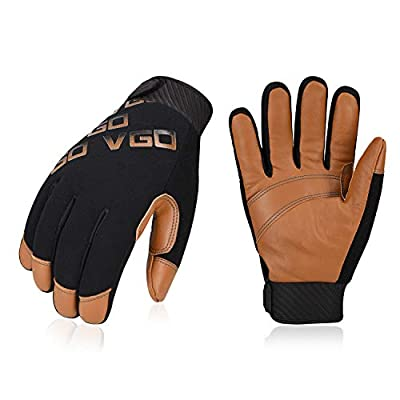 Vgo 3Pairs -4? or above 3M Thinsulate C100 Winter Warm Waterproof Light Duty Mechanic Glove,High Dexterity,Anti-abrasion,Rigger Glove(Size L,Brown,GA9603)
