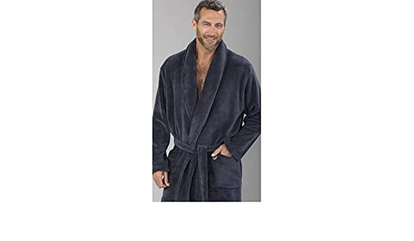 Amazon.com: Massana - Mens Velvet Dressing Gown MASSANA Soft Winter Nightwear dark grey - NOCTURNO, XL: Clothing
