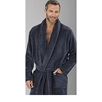 Massana - Mens Velvet Dressing Gown MASSANA Soft Winter Nightwear dark grey - NOCTURNO, XL