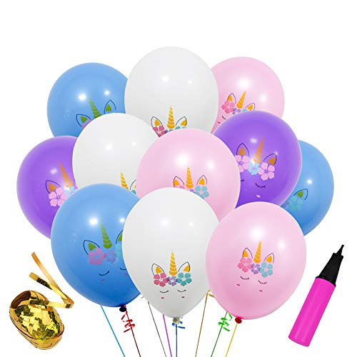 40 Pcs 12 Inch Unicorn Birthday Balloons for Unicorn Theme Party, Kids Birthday Party, Baby Shower, Festival Party Decorations (Assorted Color)