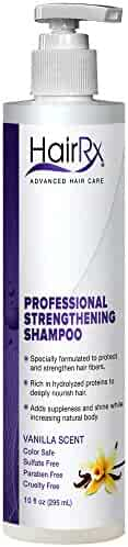 HairRx Professional Strengthening Shampoo with Pump, Light Lather, Vanilla Scent, 10 Ounce