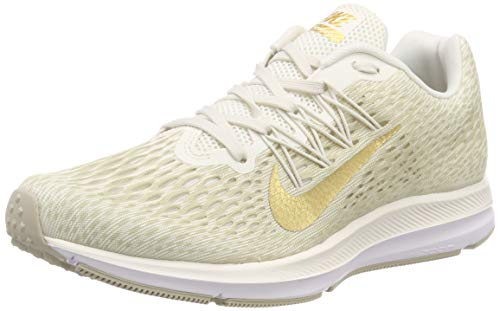 Nike Women's Air Zoom Winflo 5 Running Shoe Phantom/Metallic Gold-String-White 9