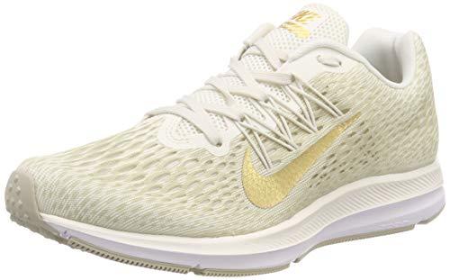 Gold Nike Sneakers - Nike Women's Air Zoom Winflo 5 Running Shoes, Phantom/Metallic Gold-String, Size 7.5 M US