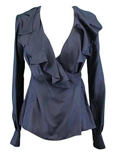 Elizabeth Mckay Women's Long Sleeve Silk Wrap Blouse 6 Navy