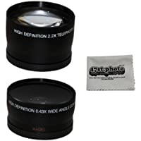 58MM 2.2x Telephoto and 0.43X Wide Angle High Definition w/ Macro Portion Lenses for CANON REBEL (T5i T4i T3i T3 T2i T2 T1i XTi XT XSi XS SL1), CANON EOS (1100D 700D 650D 600D 550D 500D 450D 400D 350D 300D 100D 7D) and Microfiber Lens Cleaning Cloth