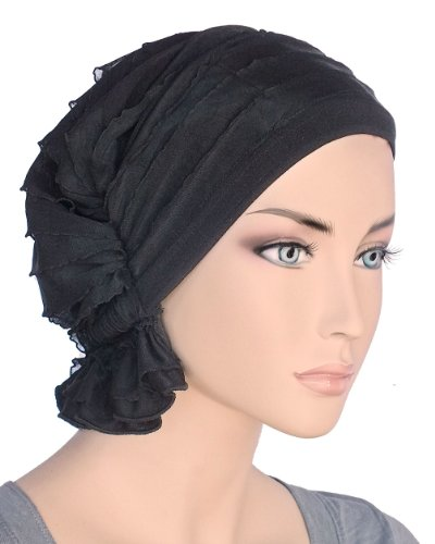 Abbey Cap Women's Chemo Hat Beanie Scarf Turban Headwear for Cancer Ruffle Black (Ruffle Cap)
