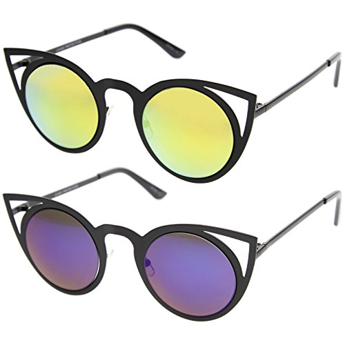 zeroUV - Womens Fashion Round Metal Cut-Out Flash Mirror Lens Cat Eye Sunglasses (2-Pack | Blk / Yellow & Blue - Cat Out Cut