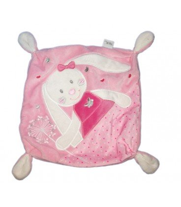 Doudou plat Lapin rose blanc Carrefour TEX: Amazon.es: Bebé