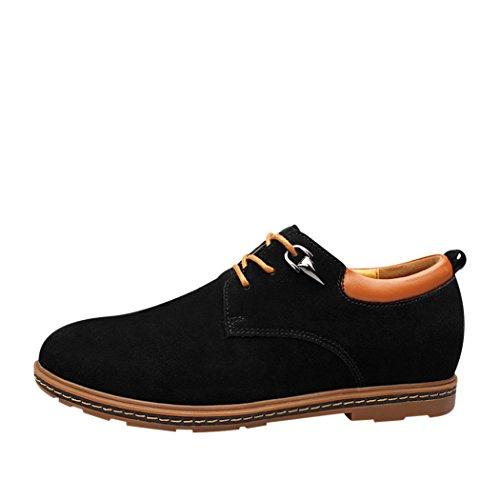 Sun Florence Men Business Casual Lace-up Elegant Suede Leather Shoes Black 40 7LylYz6hE