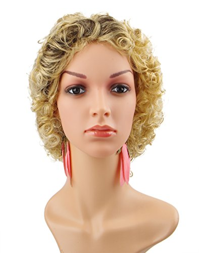 Spretty Women's Gorgeous Black Gradient Blonde Short Curly Wavy Wig for Cosplay - Legally Blonde Costume Party