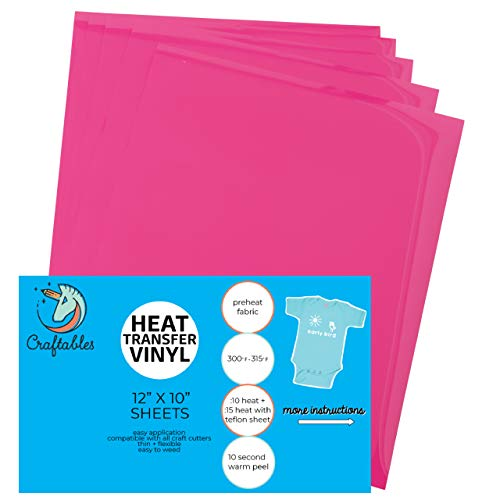(5) 12 x 9.8 Sheets of Craftables Hot Pink Heat Transfer Vinyl HTV - Easy to Weed Tshirt Iron on Vinyl for Silhouette Cameo, Cricut, All Craft Cutters. Ships Flat, Guaranteed Size