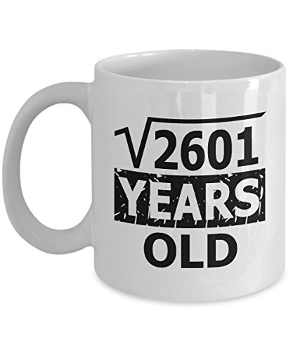 Math Formula Mug 11 OZ - Funny Math Gifts For Teachers, Students -Square Root Of 2601-51 Years Old Birthday - 51th Birthday Gifts For Women Funny, Her, Mom On Mother's Day Christmas - Ceramic